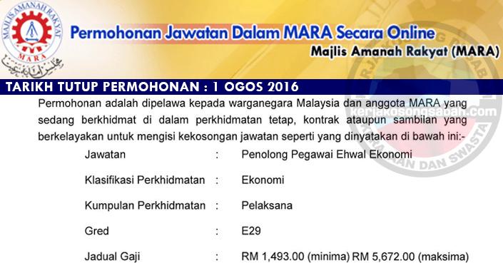 Jawatan Kosong Mara 2016 Penolong Pegawai Ehwal Ekonomi E29 Jawatan Kosong Terkini Negeri Sabah
