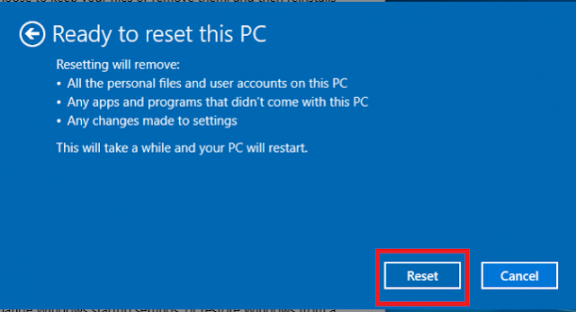 Click Reset when prompted.