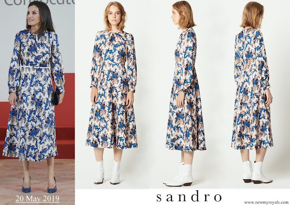 Queen Letizia wore Sandro all-over print long silk dress