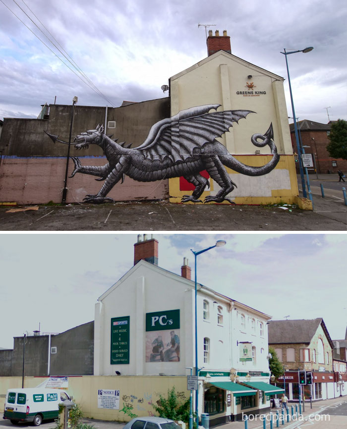 10+ Incredible Before & After Street Art Transformations That'll Make You Say Wow - Welsh Dragon, Cardiff, Wales