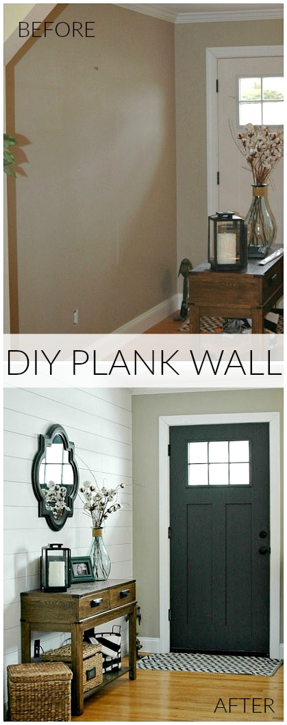 Plank wall entryway before and after