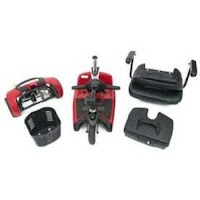 Go Go Ultra X 3 Wheel Travel Pride Mobility Scooter disassembles into 5 manageable pieces, image