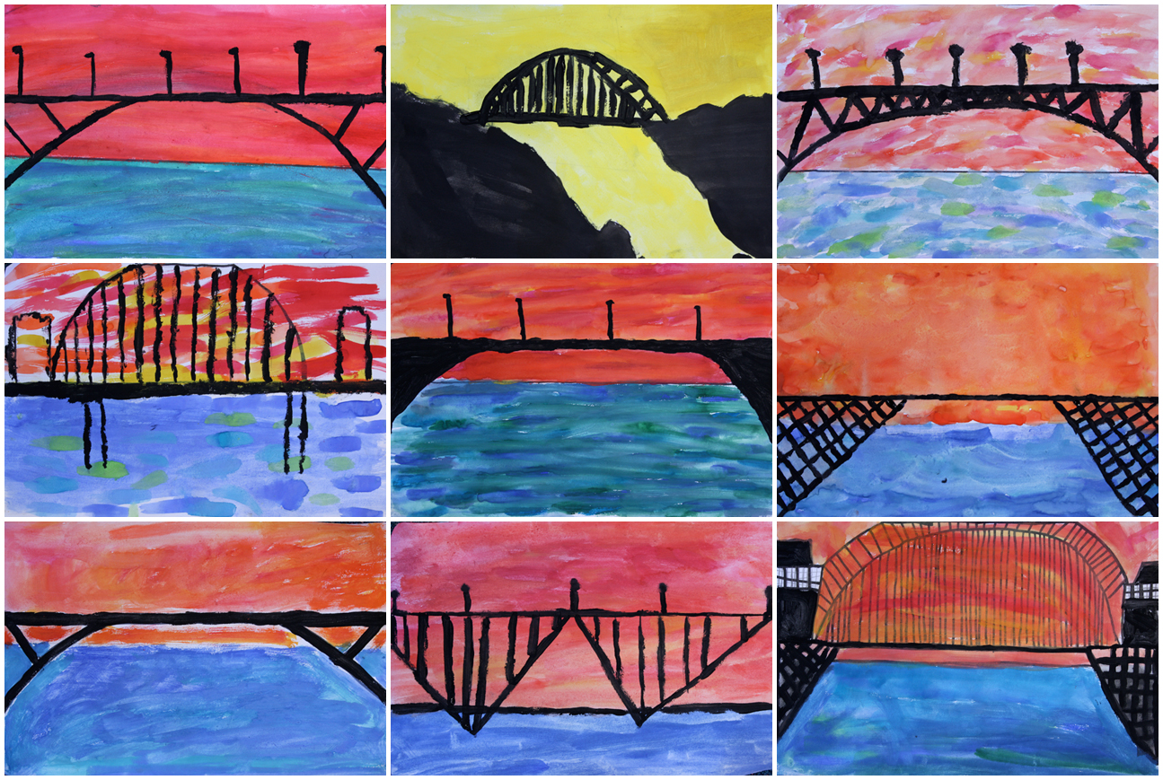 Awesome Bridge From Being Too Elaborate Itus Hard To Paint Thin Lines With Notsothin Brushes The Students Did A Great Job And I Really Like Sunset