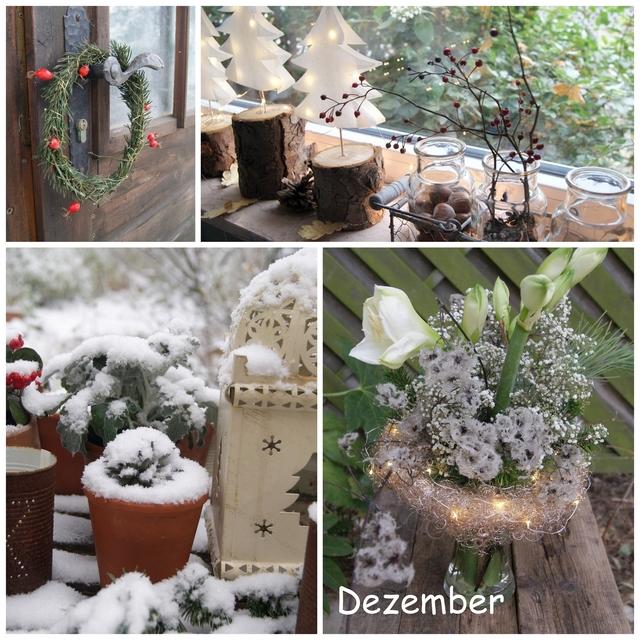 Schnee im Garten Weihnachtsdeko auf der Fensterbank