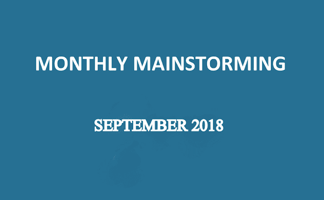 UPSC Monthly Mainstorming - September 2018 for UPSC Mains 2018