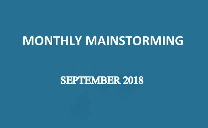 UPSC Monthly Mainstorming - September 2018 - Download pdf