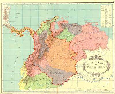Mapa detallado de la Gran Colombia en 1824