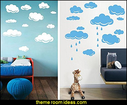 Rain Drops Clouds Vinyl Wall Sticker For Kids Room Wall Art Decor Children Nursery Wall Decal Stickers