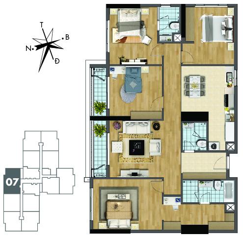 Mặt bằng căn hộ 07 tòa Sapphire 1