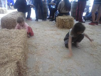 dve dievčatá hrajúce sa so senom