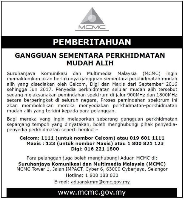 Ganguan Servis Celcom, Maxis, Digi Mulai September 2016