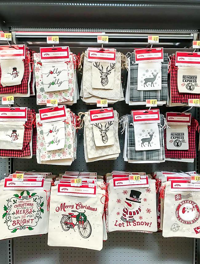 Christmas burlap sacks from Walmart