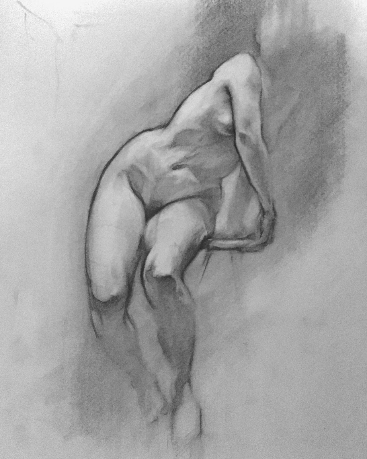 Sketch No.4 - Figure Sketch, Charcoal on Paper, sold
