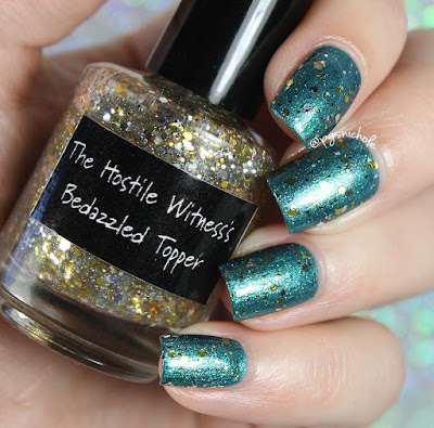 CrowsToes Nail Color The Hostile Witness's Bedazzled Topper (over The Polyester Chemist) | The Triple M Collection