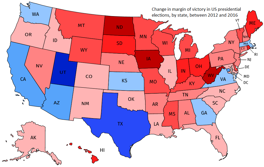 Historical Presidential Elections By State Margin Of Victory The - Us presidential election map 2016