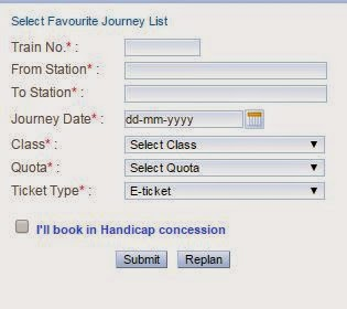 irctc quick book form