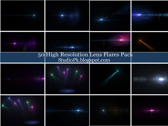 50 High Resolution Lens Flares Pack
