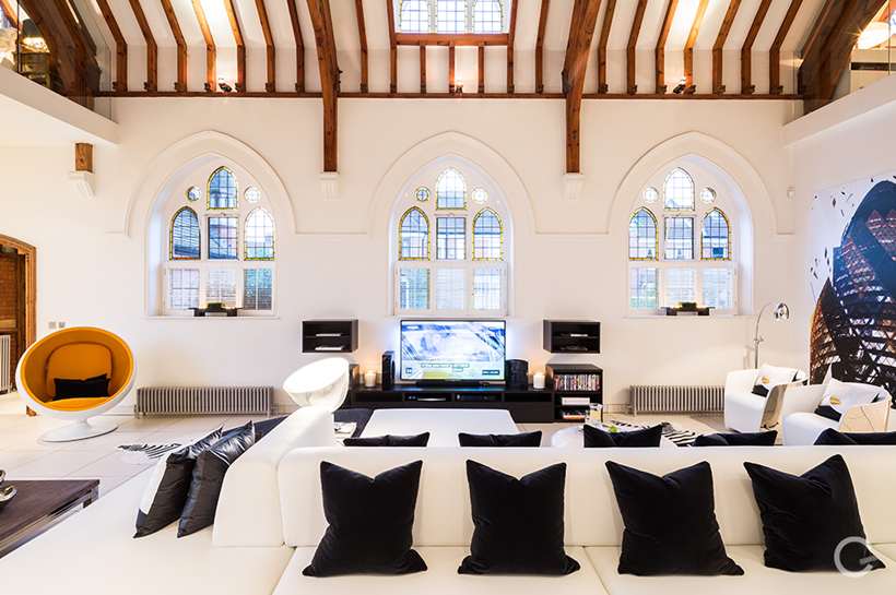 Living room in converted church in London