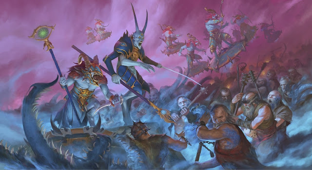 Warhammer age of sigmar artwork ilustration from battletome disciples of tzeentch magister sorcerer of tzeentch