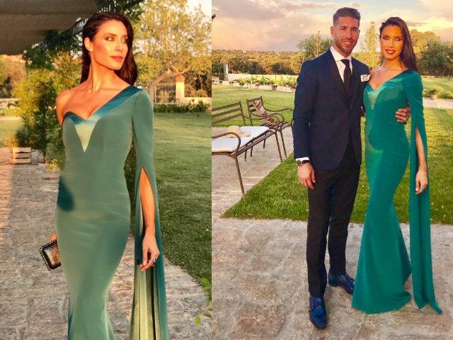 4a49c2b623a802 A mi me encanta este que lució Pilar Rubio en la boda de Lucas Vázquez con  corte de sirena en color verde esmeralda con corte asimétrico de la  diseñadora ...