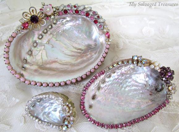 decorated abalone sea shells with vintage jewels