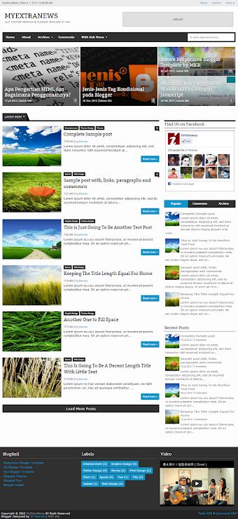 MyExtraNews Responsive Blogger Template Screenshot