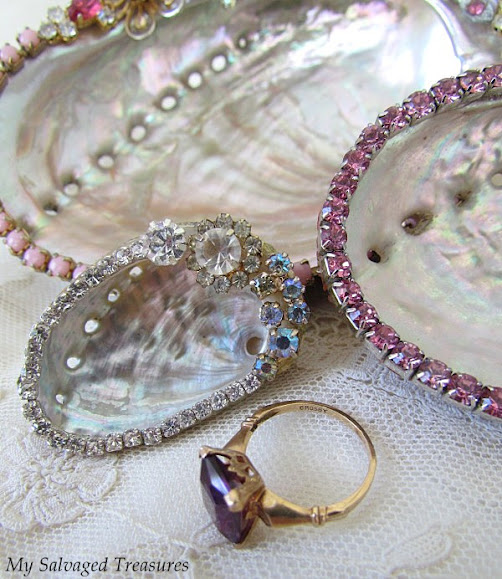 abalone shells sea shells decorated with vintage jewelry