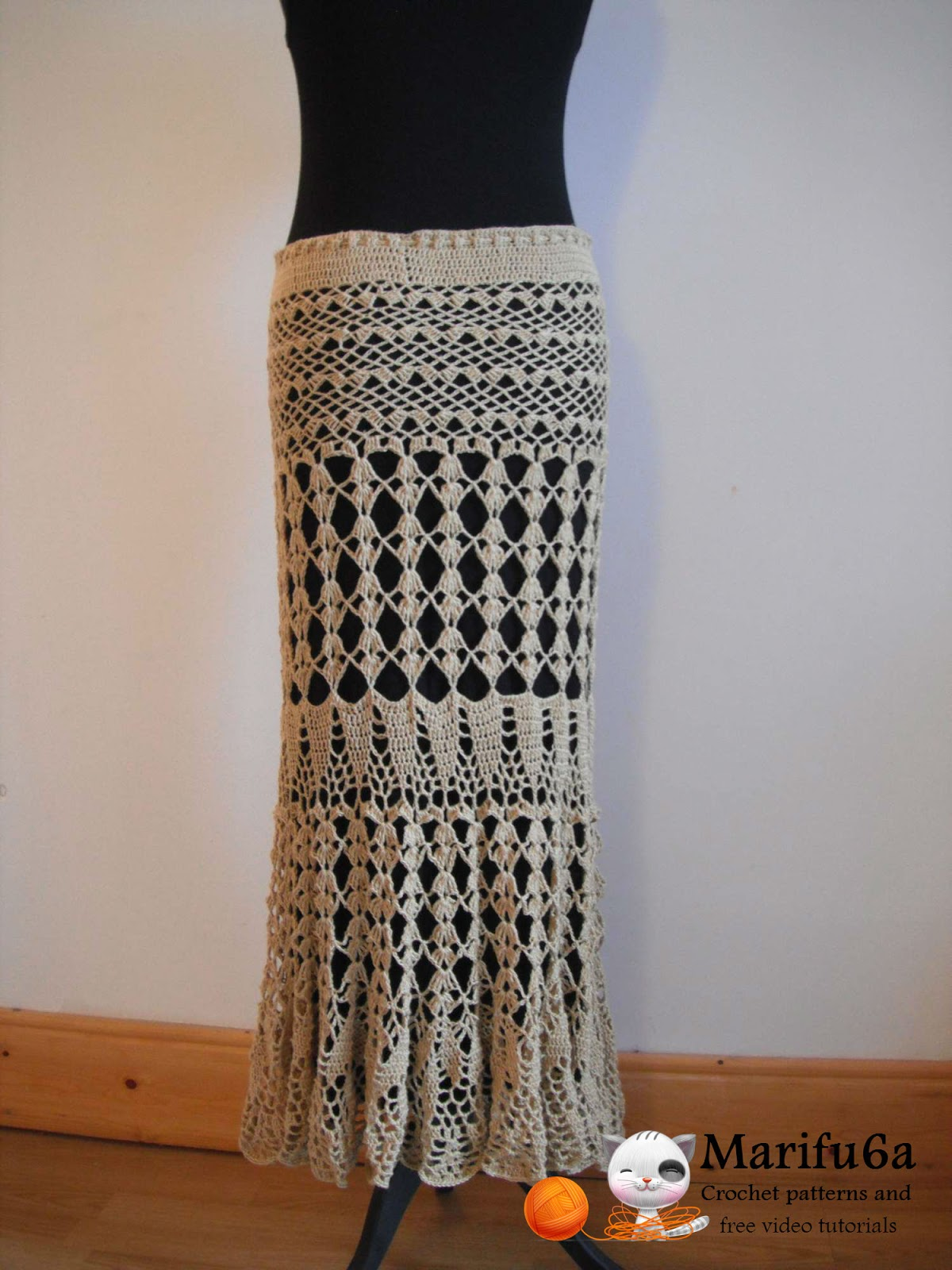 Free crochet patterns and video tutorials: How to crochet maxi skirt