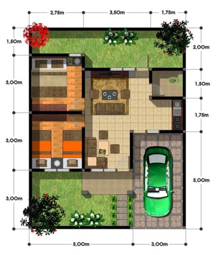 33 Denah Rumah Sederhana 2 Kamar Tidur Rumahku Unik