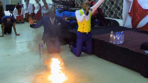 Photos: See pastor who turns water into petrol during church service