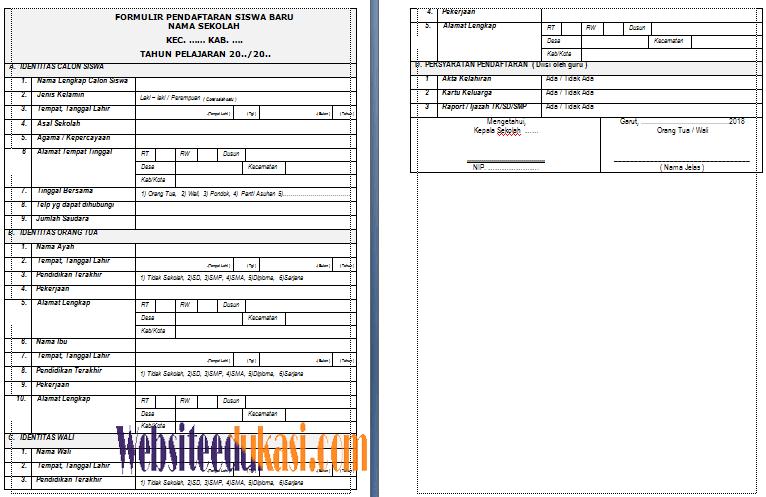 Contoh Formulir Pendaftaran Siswa Baru Tahun 2018 2019