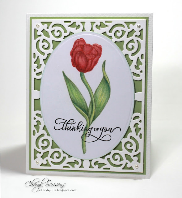Stamp Simply, Get Well Tulip, Thinking of you Rose, CherylQuilts, Designed by Cheryl Scrivens, July 2017