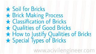 The bricks, qualities of goog bricks, classification of bricks, types of bricks, soil for bricks