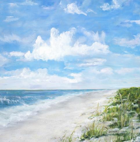 Blue Green Beach Canvas Art Square