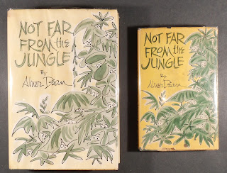 A handmade cover for Not Far From the Jungle, featuring green foliage on a yellow background. To its right is a visual similar finished book.