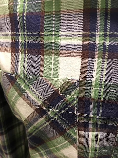 Mood Fabrics' plaid flannel Archer shirts - pocket detail