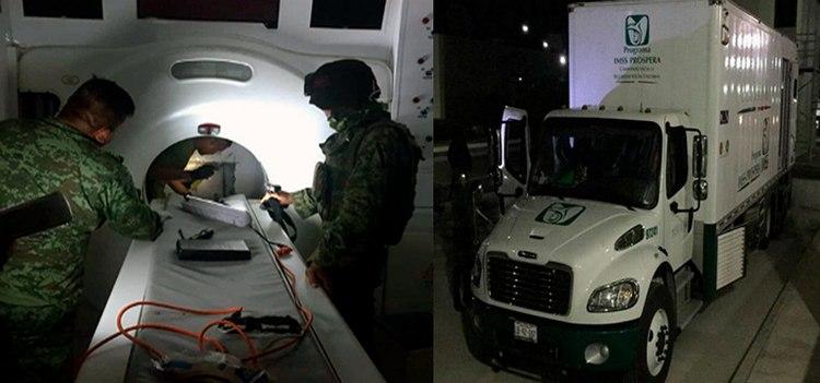 Militares decomisan 371 kilos de cocaína en camión del IMSS en Tamaulipas