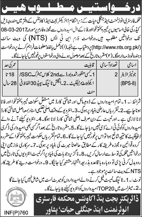 Jobs in Forestry Environment and Wildlife Department Peshawar