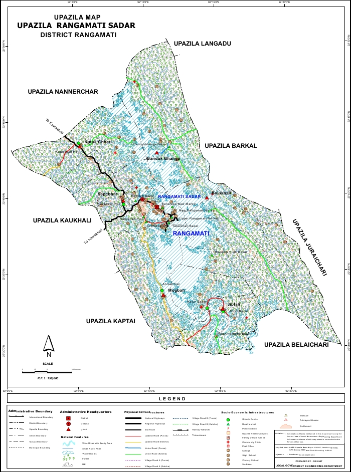 Rangamati Sadar Upazila Map Rangamati District Bangladesh