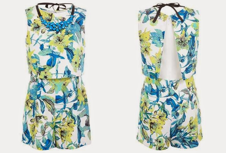 Floral Print Overlay Playsuit