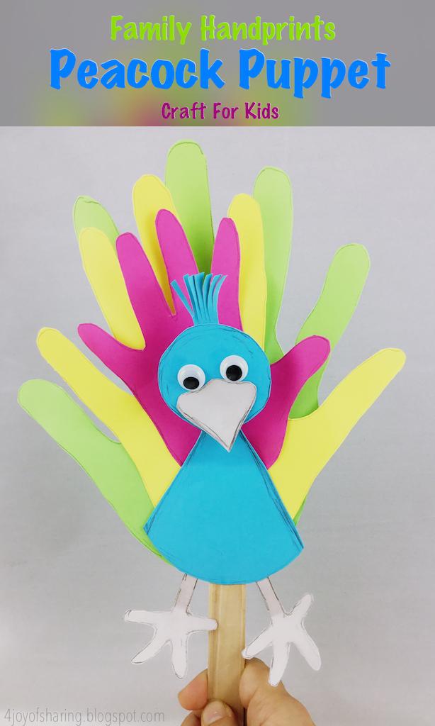 kids Craft, Craft for kids, Puppet craft, peacock craft, handprints crafts, preschool crafts, kindergarten craft, daycrae craft, easy craft, simple craft, peafowl craft, toddler craft, toddler fun, family fun, kids activities