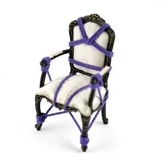miniature rope bondage chair  black white purple