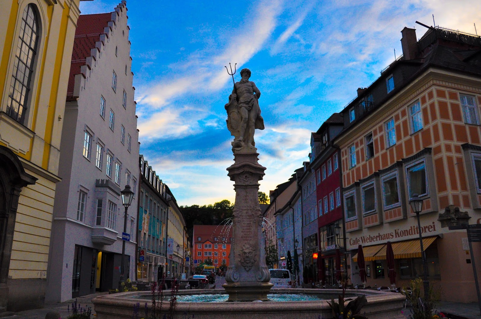 Night is falling, Fountain, The High Street, Kaufbeuren, Bavaria, Germany