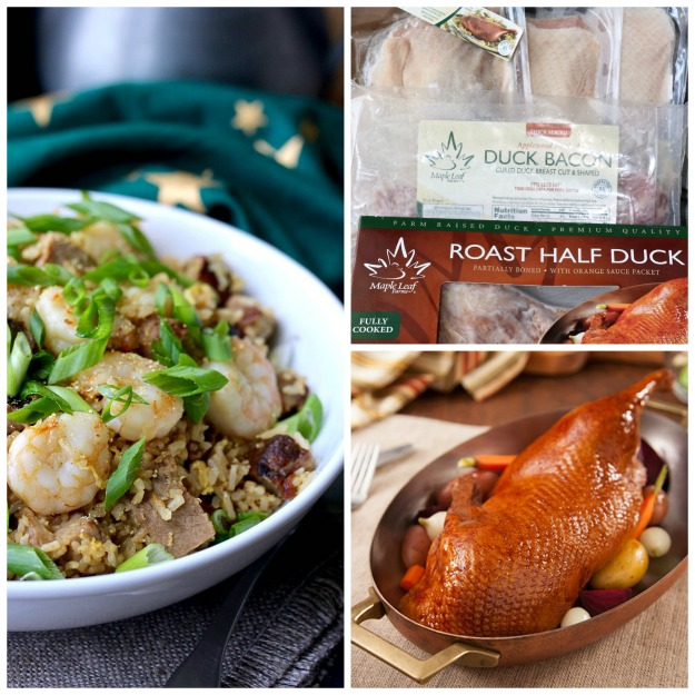 Collage of Yang Chow Fried Rice with Grilled Duck