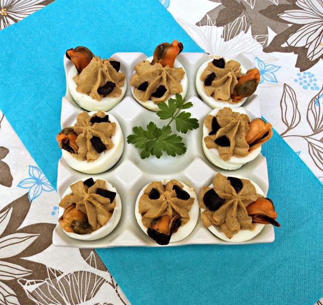 receta casera huevos, rellenos, paté, mejillones