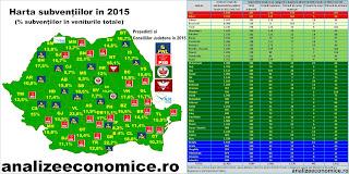 Harta celor mai subvenționate județe din 2015