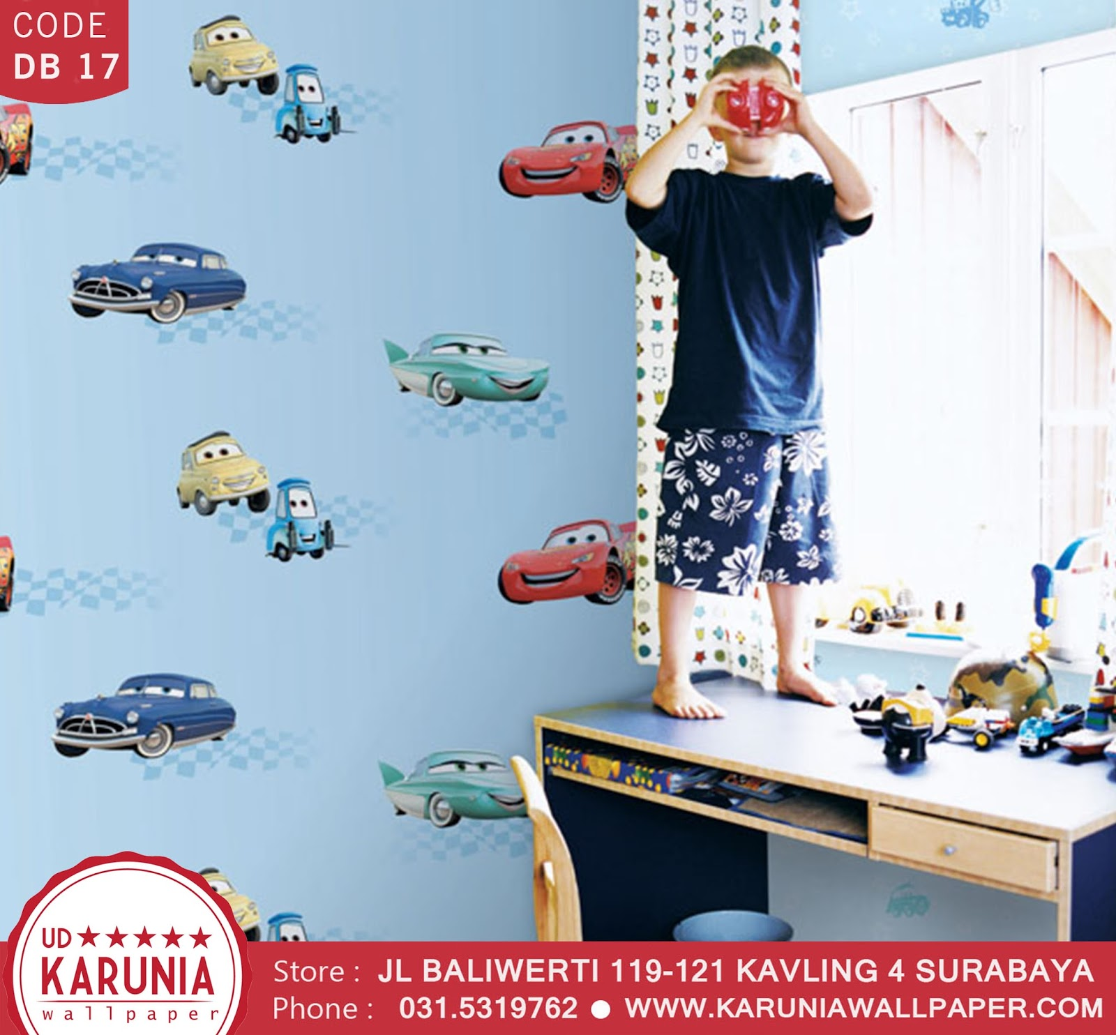 jual wallpaper dinding cars lightning mcqueen disney