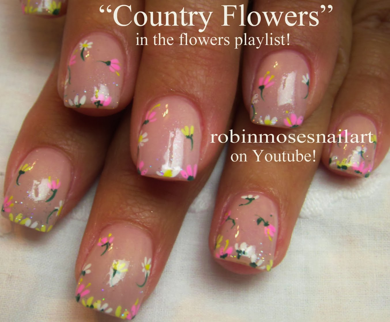 Flower Nail Art Easy Simple Diy Nails Valentine Daisy Romantic Fun