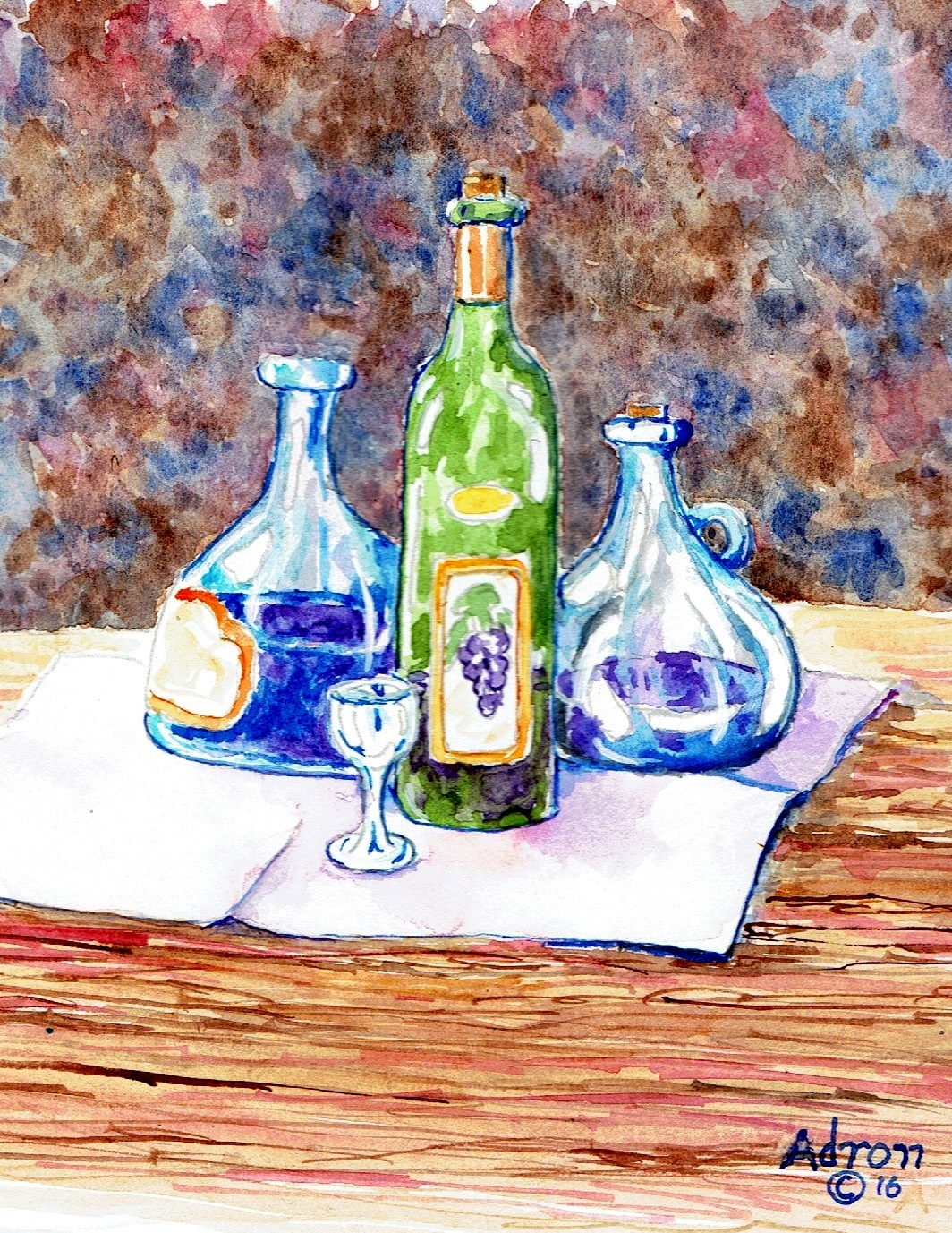 Artist Adron Watercolor Of A Still Life With Three Wine