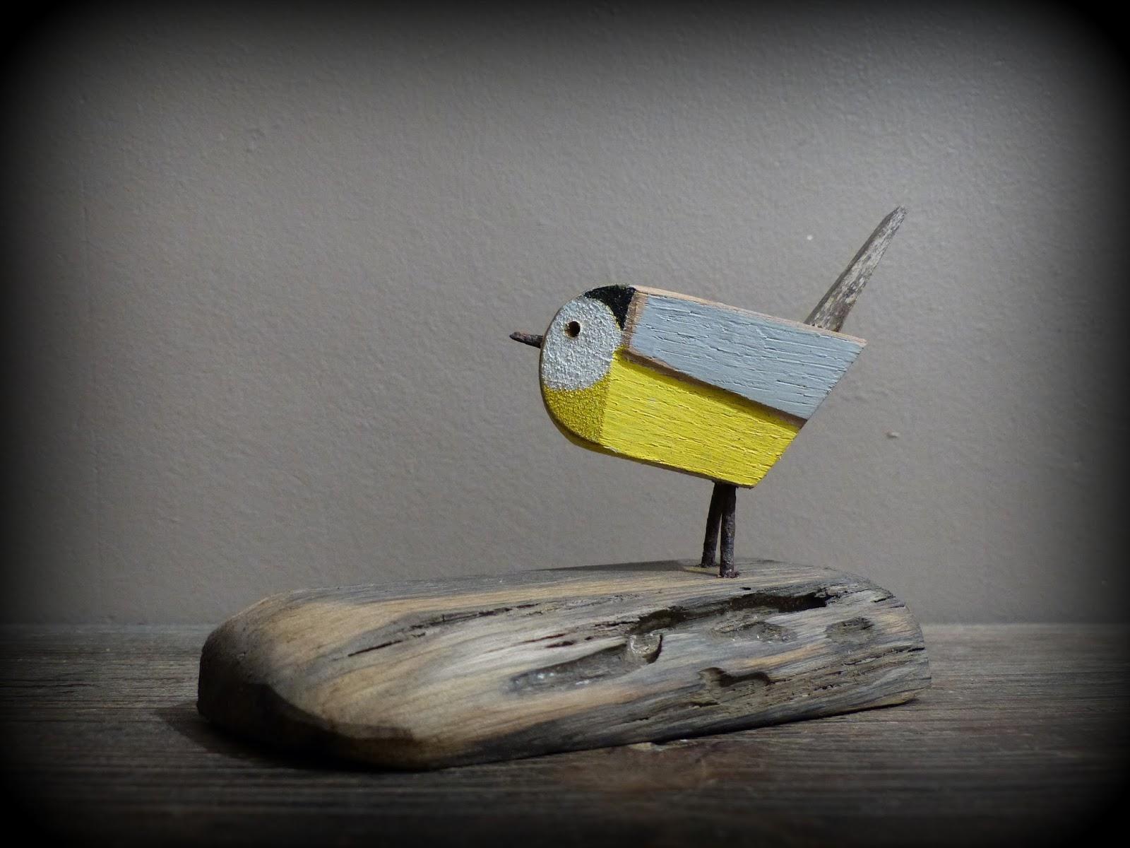M sange oiseau en bois flott et fil de fer rouill for Oiseau en bois flotte